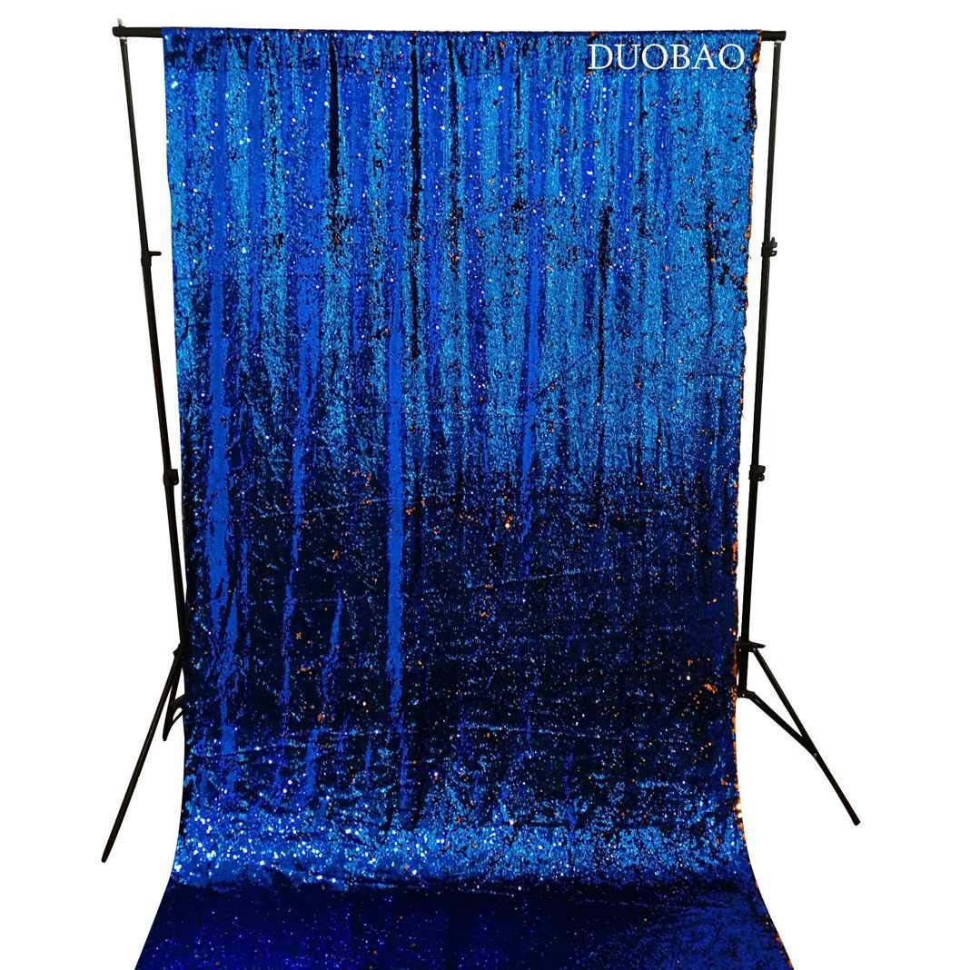 DUOBAO Sequin Backdrop 8Ft Royal Blue to Orange Mermaid Sequin Backdrop Fabric 6FTx8FT Two Tone Sequin Curtains by DUOBAO (Image #3)