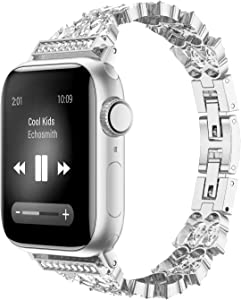 FanTEK for Apple Watch Band 38mm 40mm, Diamond Luxury Crystal Bling Rhinestone Bracelet Strap Bangle Compatible with iWatch SE Series 6 Series 5 4 3 2 1, Silver