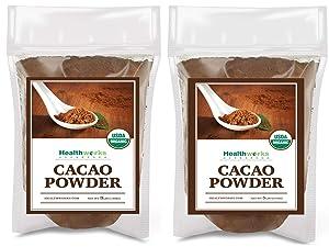 Healthworks Cacao Powder (128 Ounces / 8 Pounds)   Cocoa Chocolate Substitute   Certified Organic   Sugar-Free, Keto, Vegan & Non-GMO   Peruvian Bean/Nut Origin   Antioxidant Superfood