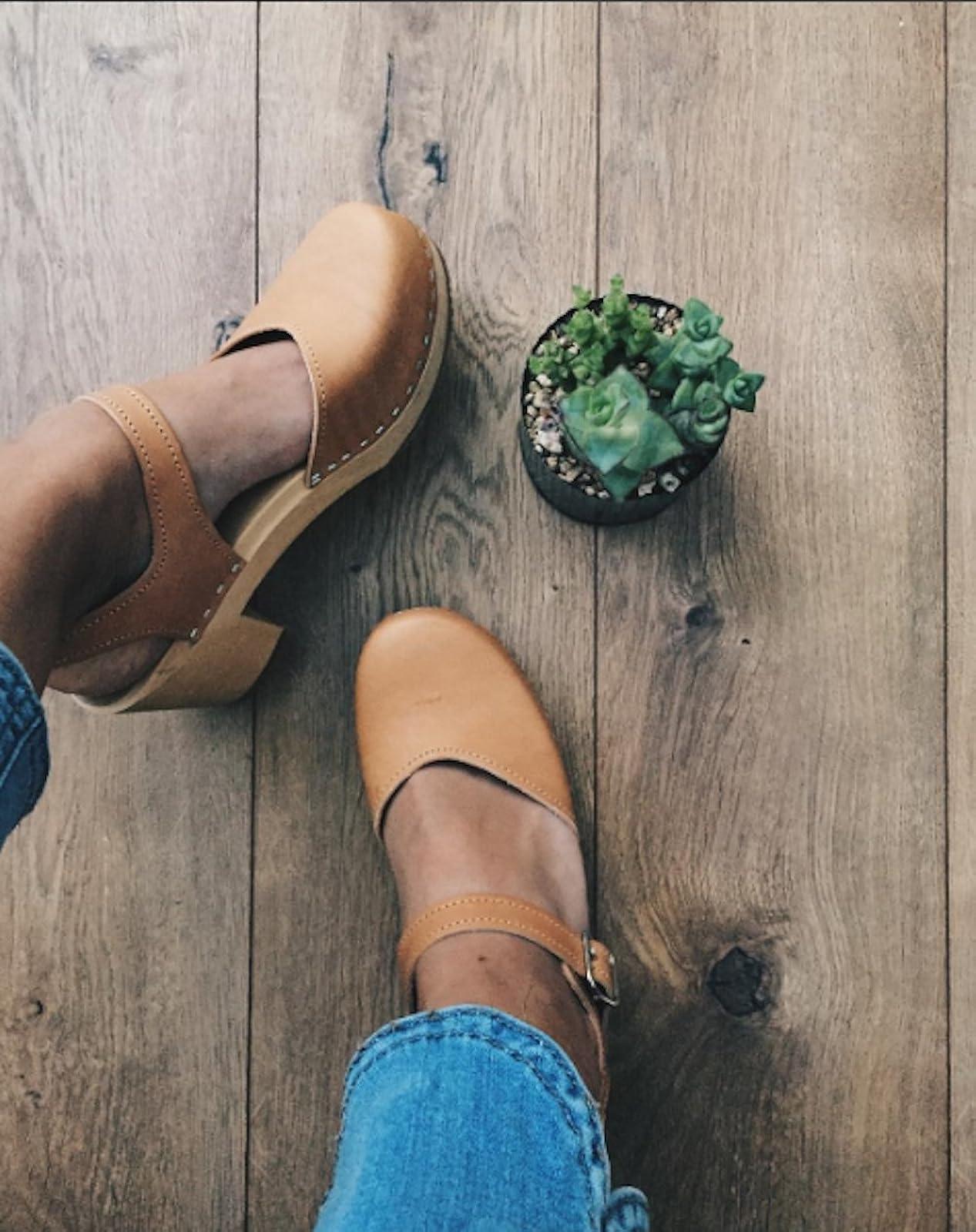 Sandgrens Swedish Wooden High Heel Clog Sandals - 5