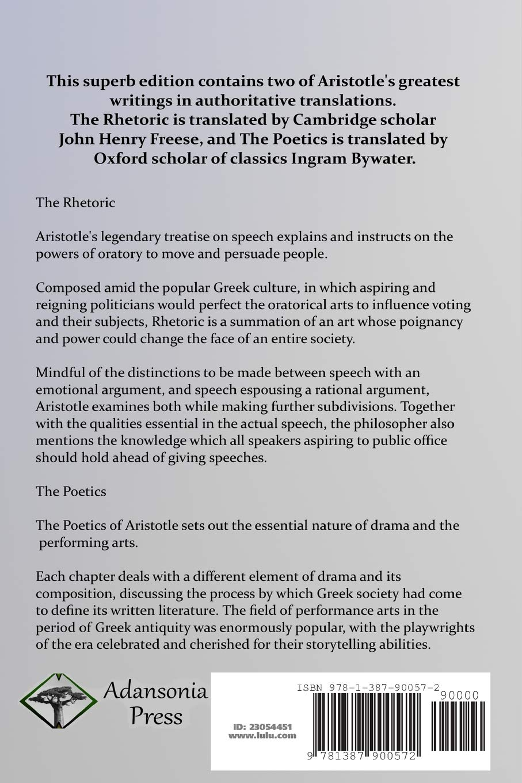 The Rhetoric And Poetics Of Aristotle Aristotle John Henry Freese Ingram Bywater 9781387900572 Amazon Com Books