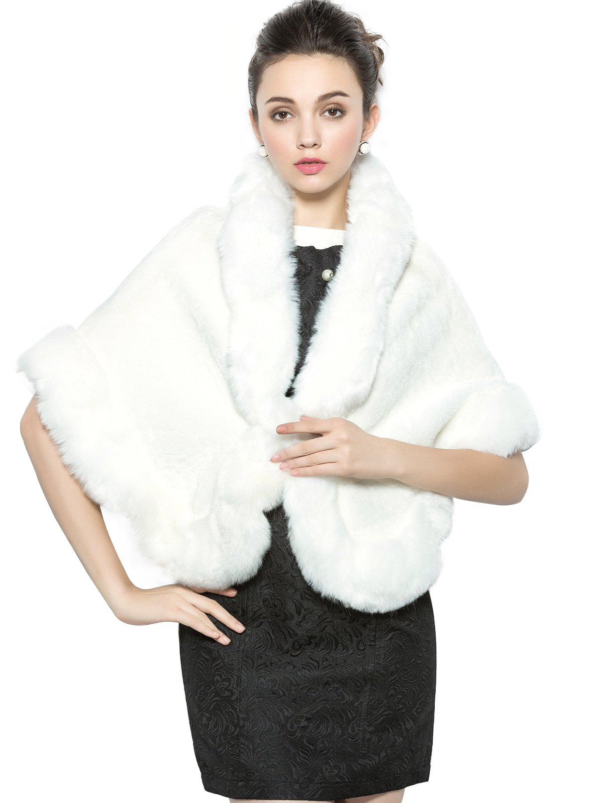Faux Fur Shawl Cape Wrap Stoles for Wedding Bride Party Dress Ivory