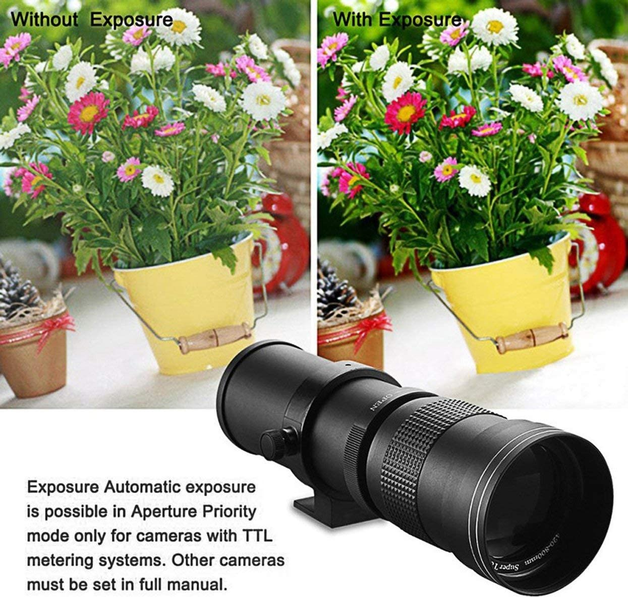 Detectorcatty 420-800mm f//8.3-16 Telephoto Lens for DSLR T Mount Camera D7200 D5300 D5200 D3300 D3200 D3000 D7100 D7000