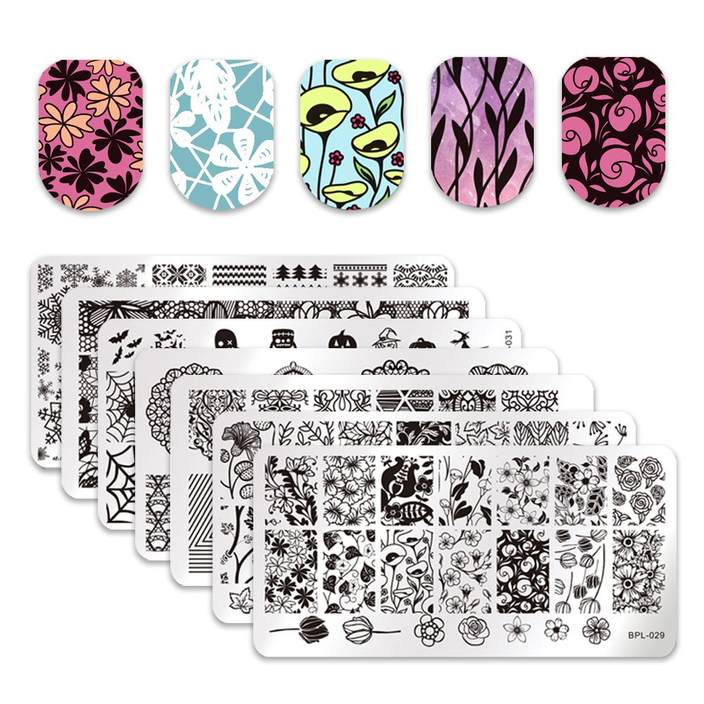 Amazon.com : Ejiubas Double-sided Nail Stamping Plates \