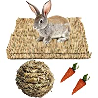 Grass Mat,Woven Bed Mat for Small Animal,Chew Toy Bed Play Ball for Guinea Pig Parrot Rabbit Bunny Hamster (Pack of 3…