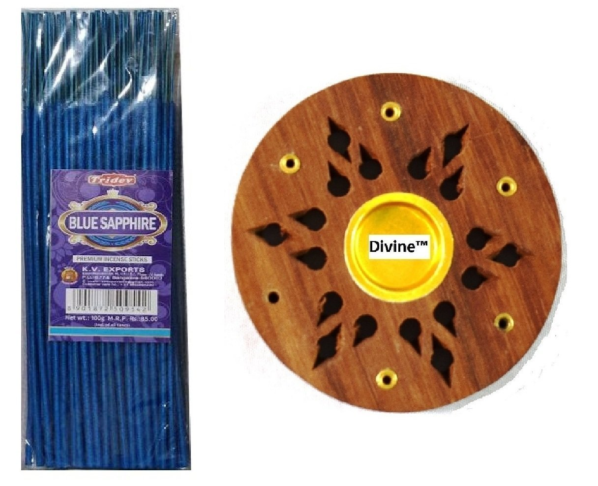 Divine Incense Holder Free With Tridev Blue Sapphire Metallic Coloured Fragranced Premium Incense Sticks Agarbatti 1 KG Pack   10 Packs of 100 Grams   Export Quality by Divine