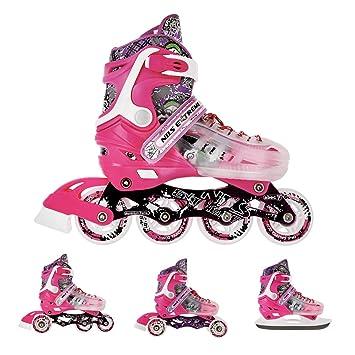 NILS 4in1 Inlineskates Rollschuhe Schlittschuhe Splash Pink