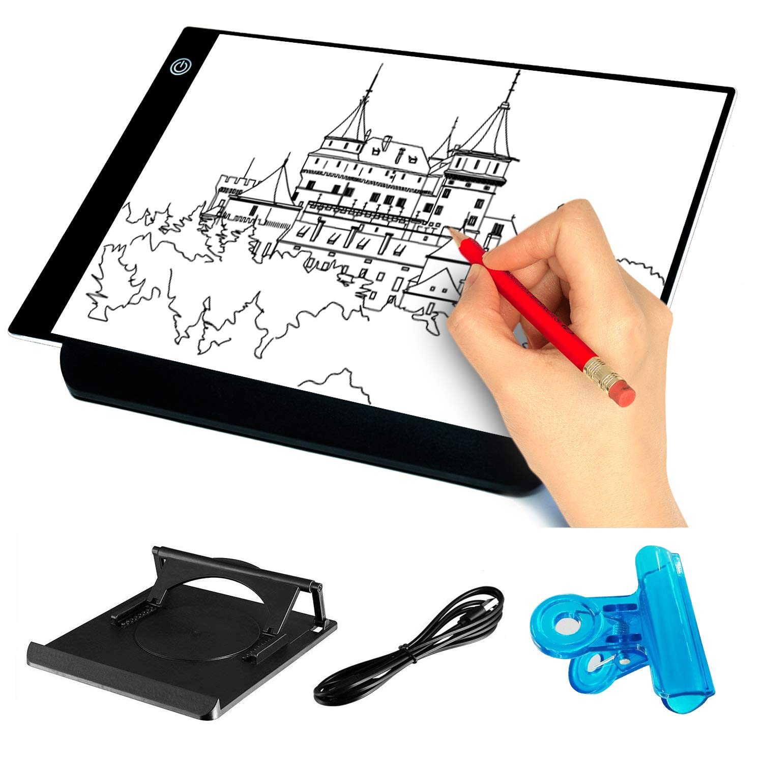 Mucjun A4 Ultra-Thin Light Box Drawing Pad with Stander, USB Power Adjustable Brightness LED Art Tattoo Tracing Light Pad Tracing Paper for Artists Drawing Sketching Animation Designing Stencilling