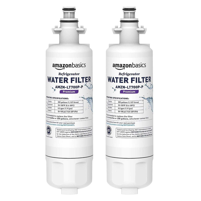 AmazonBasics Replacement LG LT700P Refrigerator Water Filter Cartridge - Pack of 2, Premium Filtration