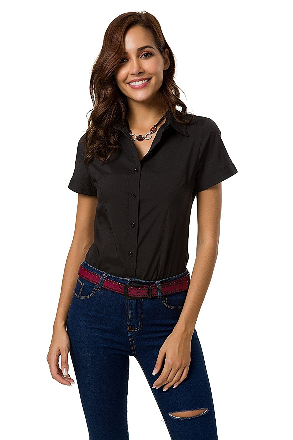 5bfcfc6e Design: Simple button down shirts, women' formal work wear, basic plain short  sleeves tops, slim fit design. Features: Short sleeve, spread collar with  ...