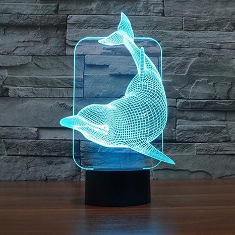 3D Illusion LED Nachtlicht 7 Farben Wechsel Tischlampe Licht Schreibtischlampe