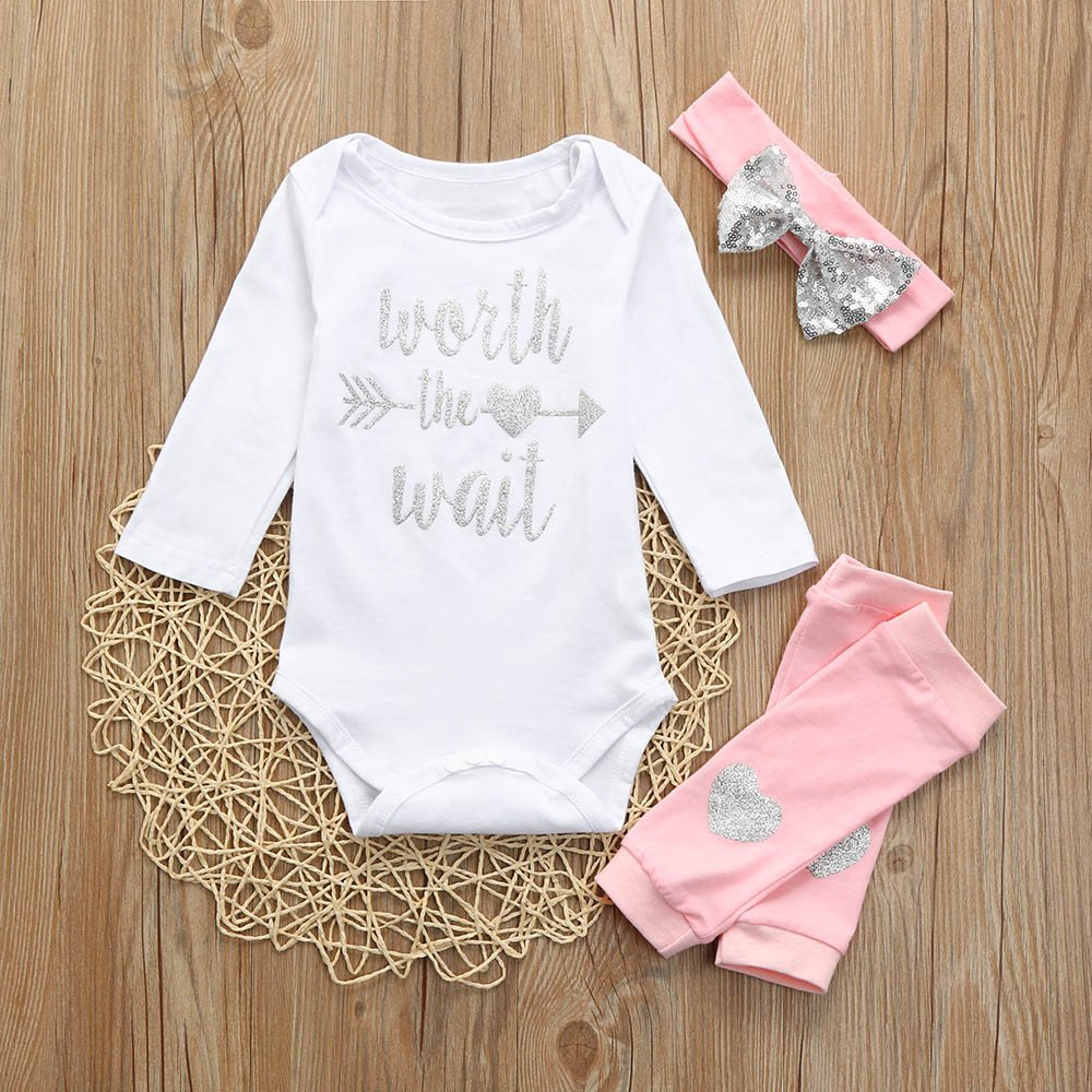 05503bbdd972 Amazon.com  3Pcs Set Newborn Baby Girl Boy Letters Print Top Romper+Warmer  Pants+Headbands Outfits (12-18Months