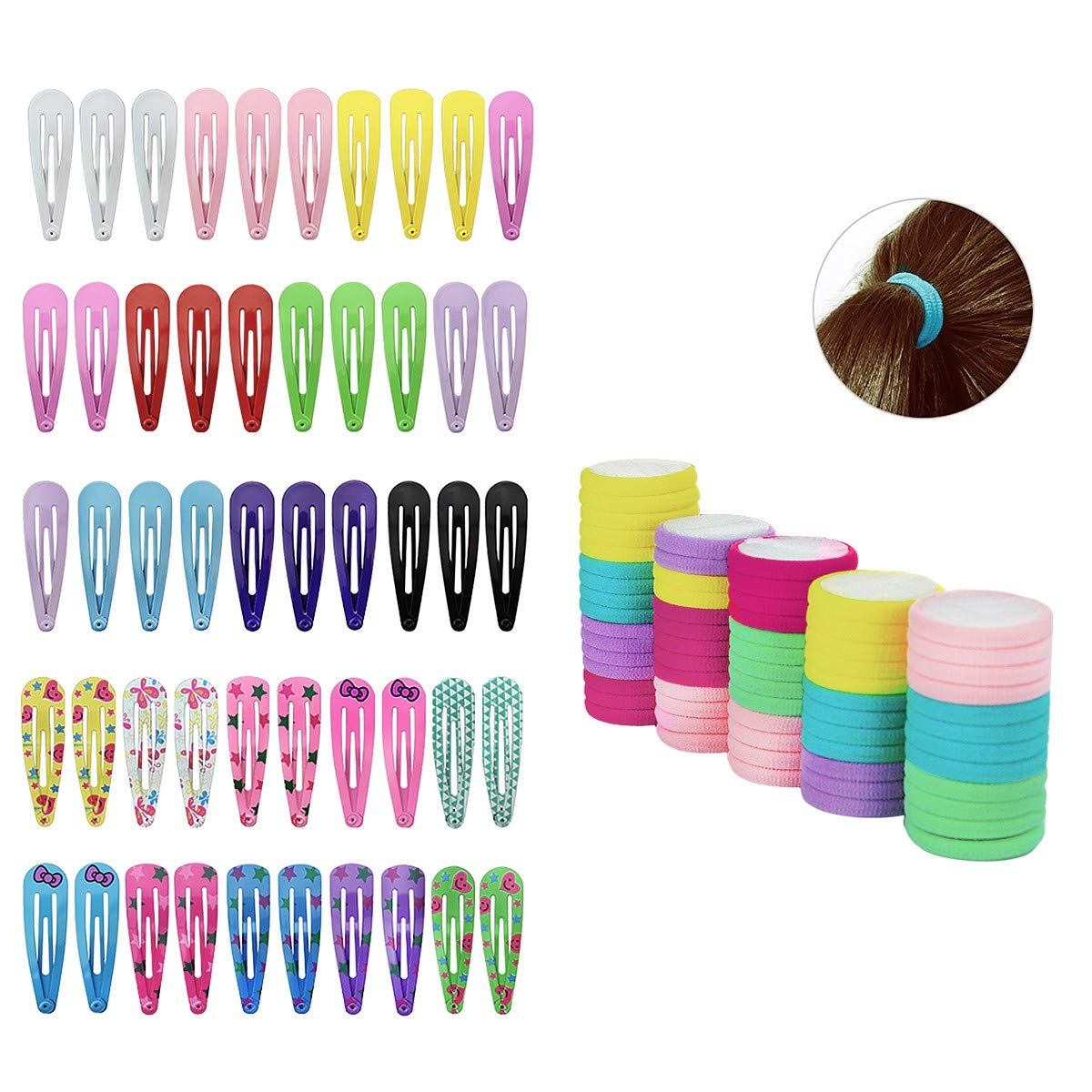 HabiKox 50pcs Hair Clips and 66pcs Hair Bands Set Plain and Printed Metal Hair Clips Snap Barrettes with Elastic Rubber Hair Ties Ponytail Holders for Girls Women Toddlers Kids FQ-WXL9001/WXL1