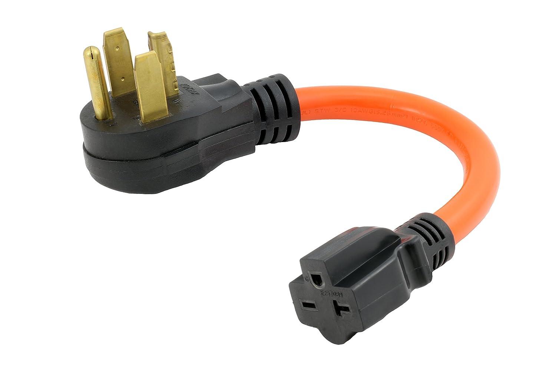 AC WORKS [S1430620-012] 1FT STW 10/3 4-Prong Dryer 14-30P Male Plug to NEMA 6-15/20R 15/20Amp 250Volt Female Connector