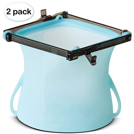 Amazon.com: Paquete de 2 bolsas de silicona reutilizables ...