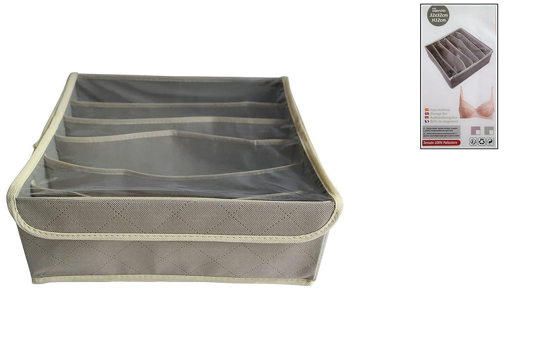 6 Compartimentos Tela 100/% Poli/éster Juego 2 Pack Calcetines con Tapa Pvc Sujetadores Corbatas y Lencer/ía Color Gris Marr/ón Cajones Calcetines Armario Plegable Organizzatori para Pa/ñuelos