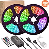 LED Strip Lights,UMICKOO Upgraded 10M/32.8ft Flexible Strip Light SMD 5050 RGB 300 LEDs with 44 Key Remote Controller…