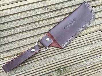 Funda de cuero para cuchillos de caza o senderismo: Amazon ...