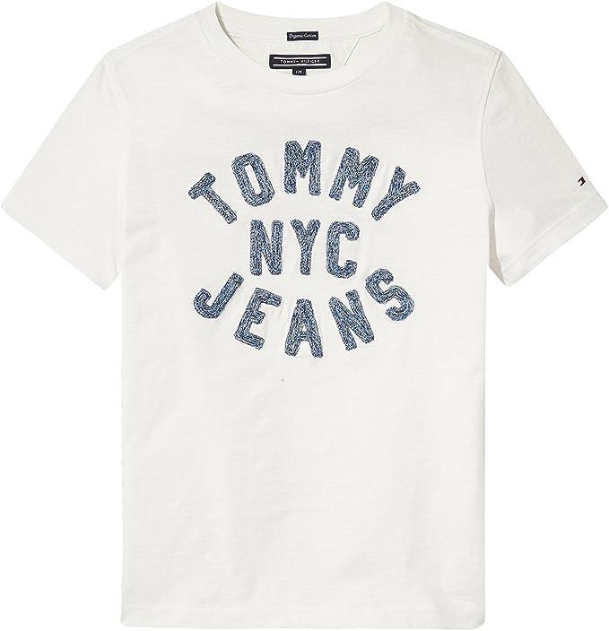 Tommy Hilfiger - D Texture CHAINSTITCH tee S/S - Camiseta Blanca NIÑO (24 Meses): Amazon.es: Ropa y accesorios