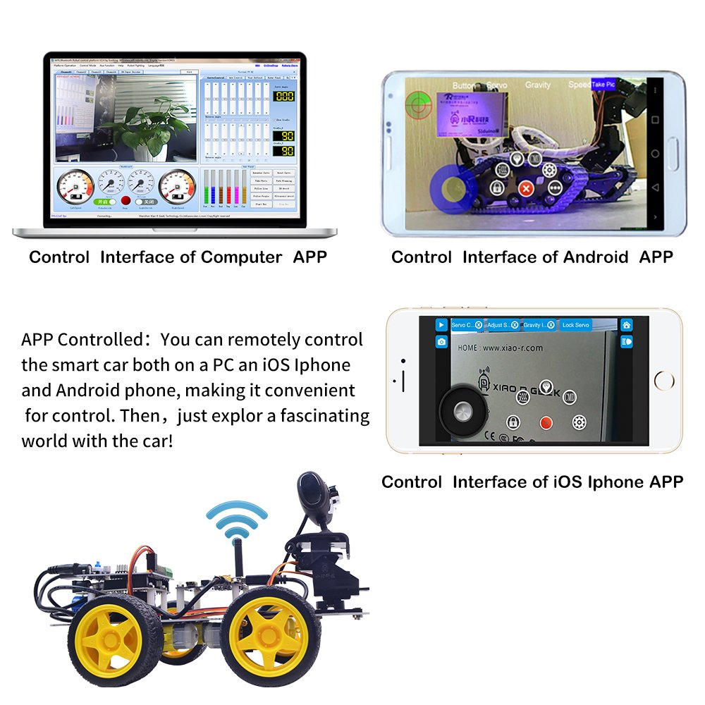 Robot Car Kit XiaoR Geek DS WiFi Smart Robot Car Kit for Arduino UNO R3,Remote Control HD Camera FPV Robotics Learning /& Educational Electronic Toy