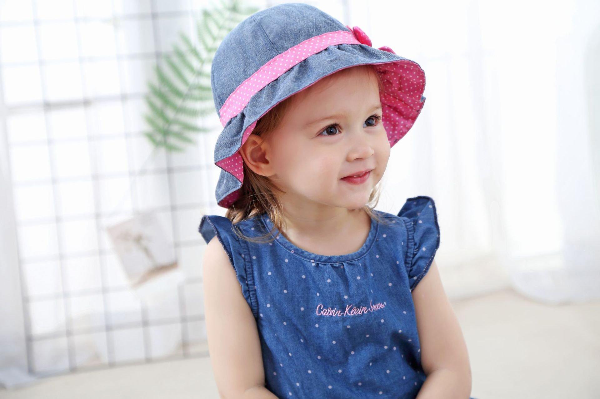 Toddler Baby Girls Denim Sun Hats with Chin Strap Kid Summer Cotton Sunhat Polka Dot Caps by HUIXIANG (Image #5)