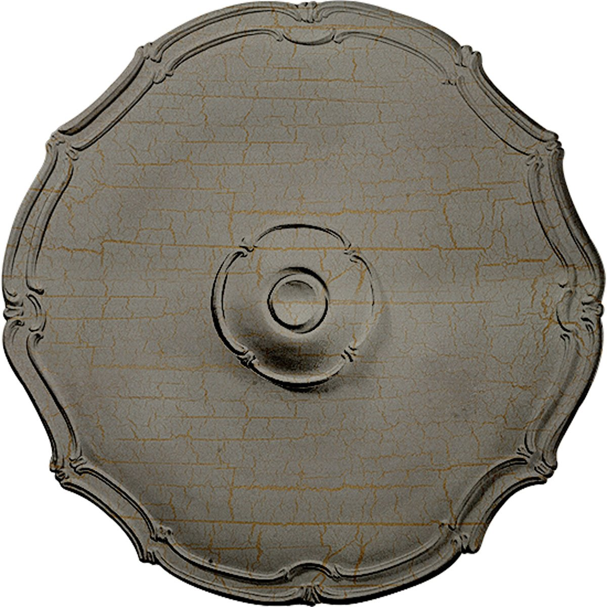 Ekena Millwork CM18POPCC Pompeii Ceiling Medallion, Pot of Cream Crackle