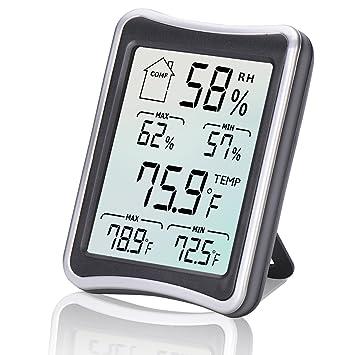 Termo-HigróMetro Digital, Diyife TermóMetro Digital Grande De Pantalla LCD, HigrotermóGrafo Digital, Monitor De Temperatura Y Humedad Con Registros MíN.