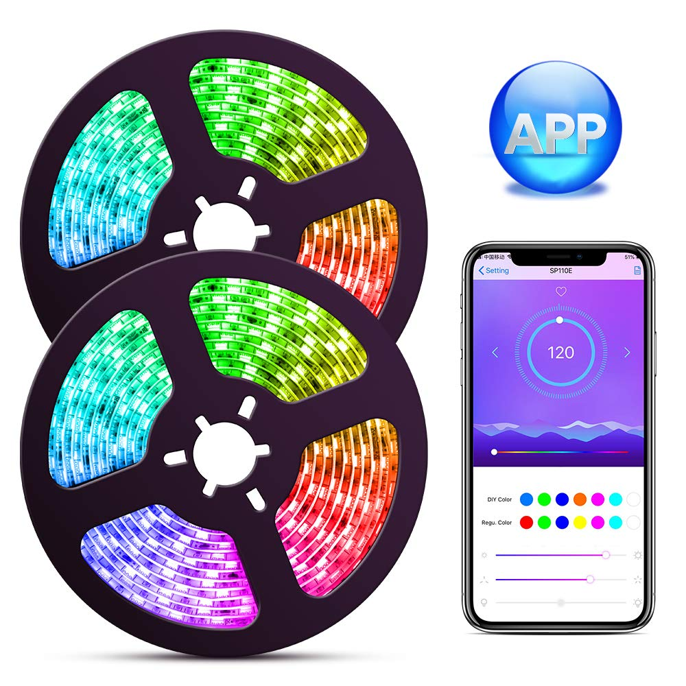 ELlight Dream Color LED Strip Lights with APP, 10m/32.8ft LED Lights with Multicolor Chasing, Waterproof RGB Rope Lights Kit, 300 LEDs SMD 5050 Flexible Strip Lighting for Home Kitchen by ELlight