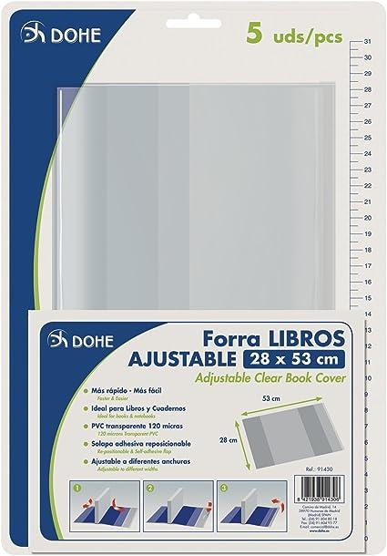 Dohe 91430 - Pack de 5 cubiertas protectoras de libros y cuadernos ...
