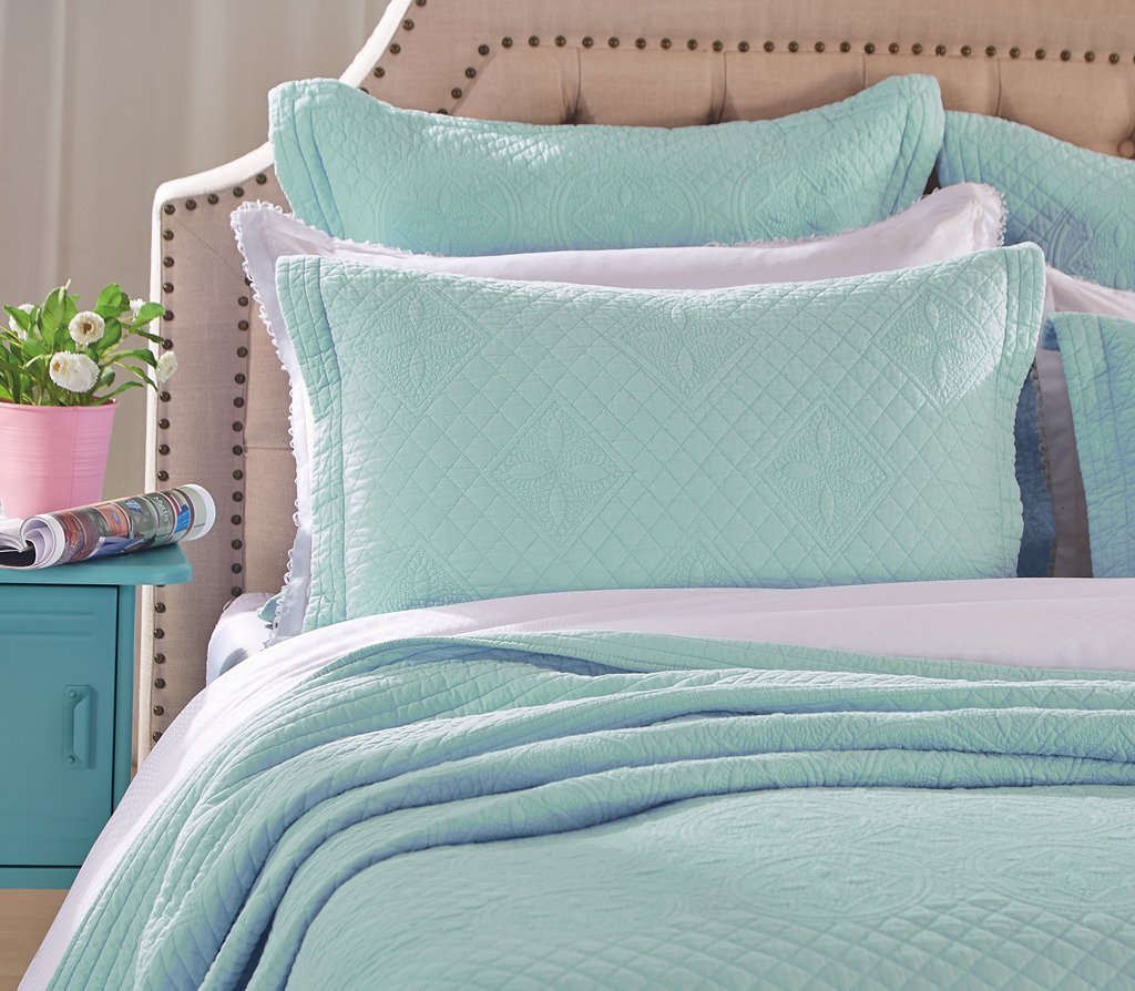 Saint Fountain Pure Cotton Quilted Pillow Sham By Calla Angel, Standard, Light Aqua