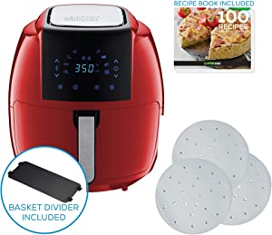 GoWISE USA 7-Quart 8-in-1 Digital Air Fryer XXL with Basket Divider Accessory + Parchment Paper + Recipes (Red)