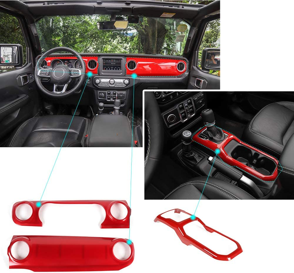 For 2020 Jeep Gladiator 5pcs Matte silver Dashboard Air Outlet Vent Trim Cover