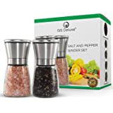Salt and Pepper Grinder Set - These Glass Stainless Steel Mill/Shaker Grinders Are Perfect For Grinding Pink Himalayan Celtic Sea Salt n Black Pepper or Any Combined Kosher Combo of Spices