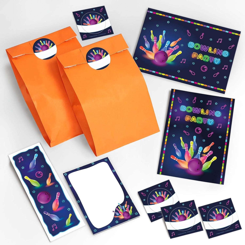 8 Einladungskarten Bowling Mädchen Jungen Geburtstag Erwachsene Kindergeburtstag Geburtstagseinladungen Einladungen Geburtstagsparty Kartenset