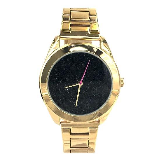 Ciudad Nafisa de la mujer brillante negro esfera de color Dorado Correa de acero inoxidable reloj