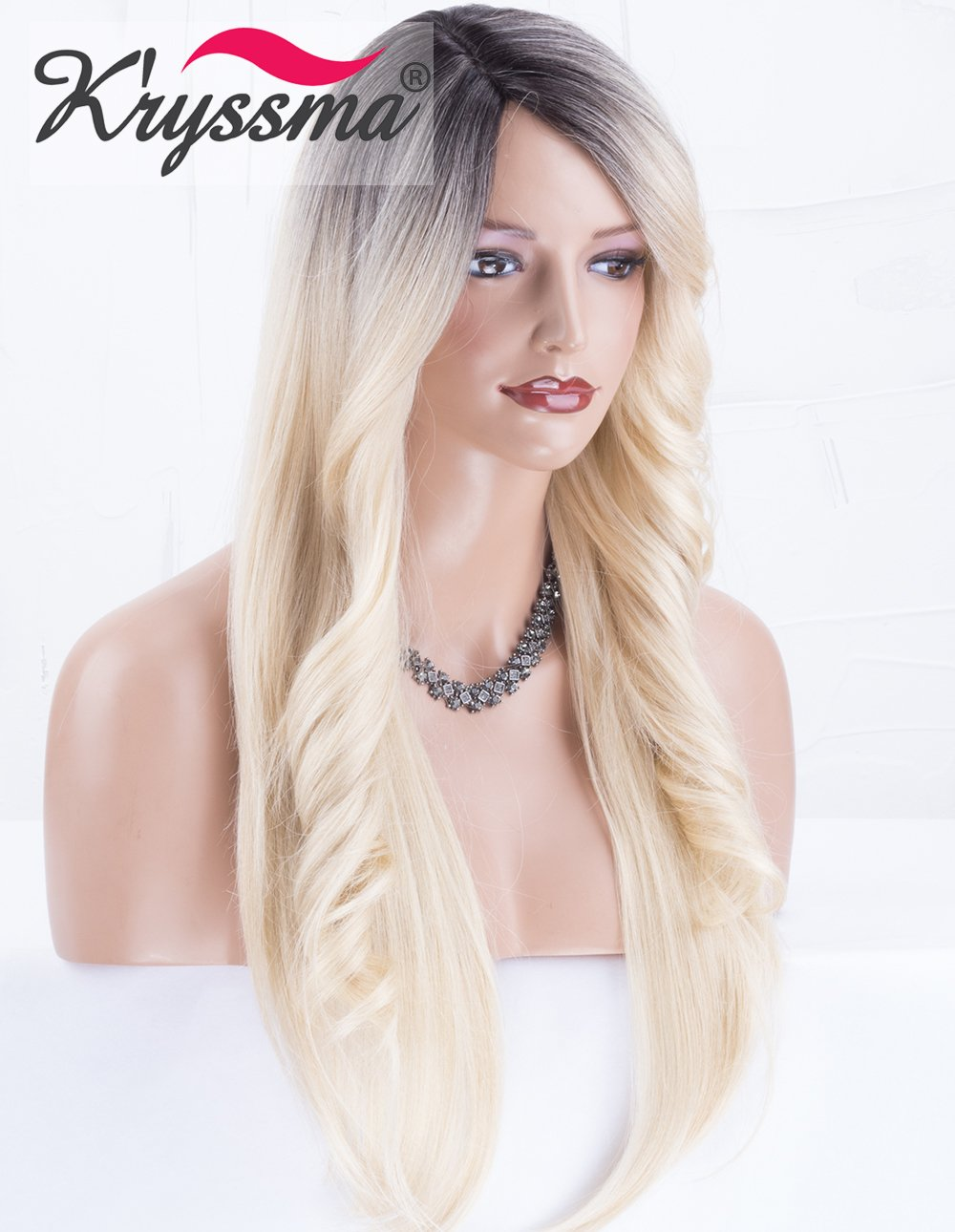 K ryssma Ombre Blonde Wig Dark Roots Long Natural Straight Synthetic Wigs  with Wavy Bangs. 09a77a5f31