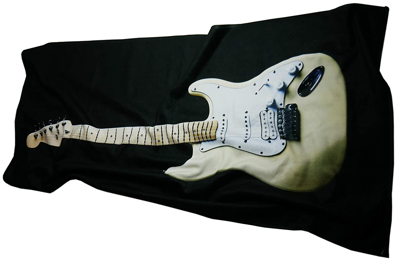 UniqueTowel Toalla de baño Ducha - Guitarra electrica Beige Blanco sobre Fondo Negro - Motivo de Guitarra Musical - Grande 70x140 cm: Amazon.es: Hogar
