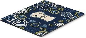 Caroline's Treasures BB5073MP Blue Flowers Yellow Labrador Mouse Pad, Hot Pad or Trivet, Large, Multicolor
