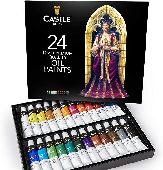 Castle Art Supplies juego de pinturas al óleo para artistas o principiantes, 24 colores vivos al óleo. Estuche de pintura profesional: Amazon.es: Hogar