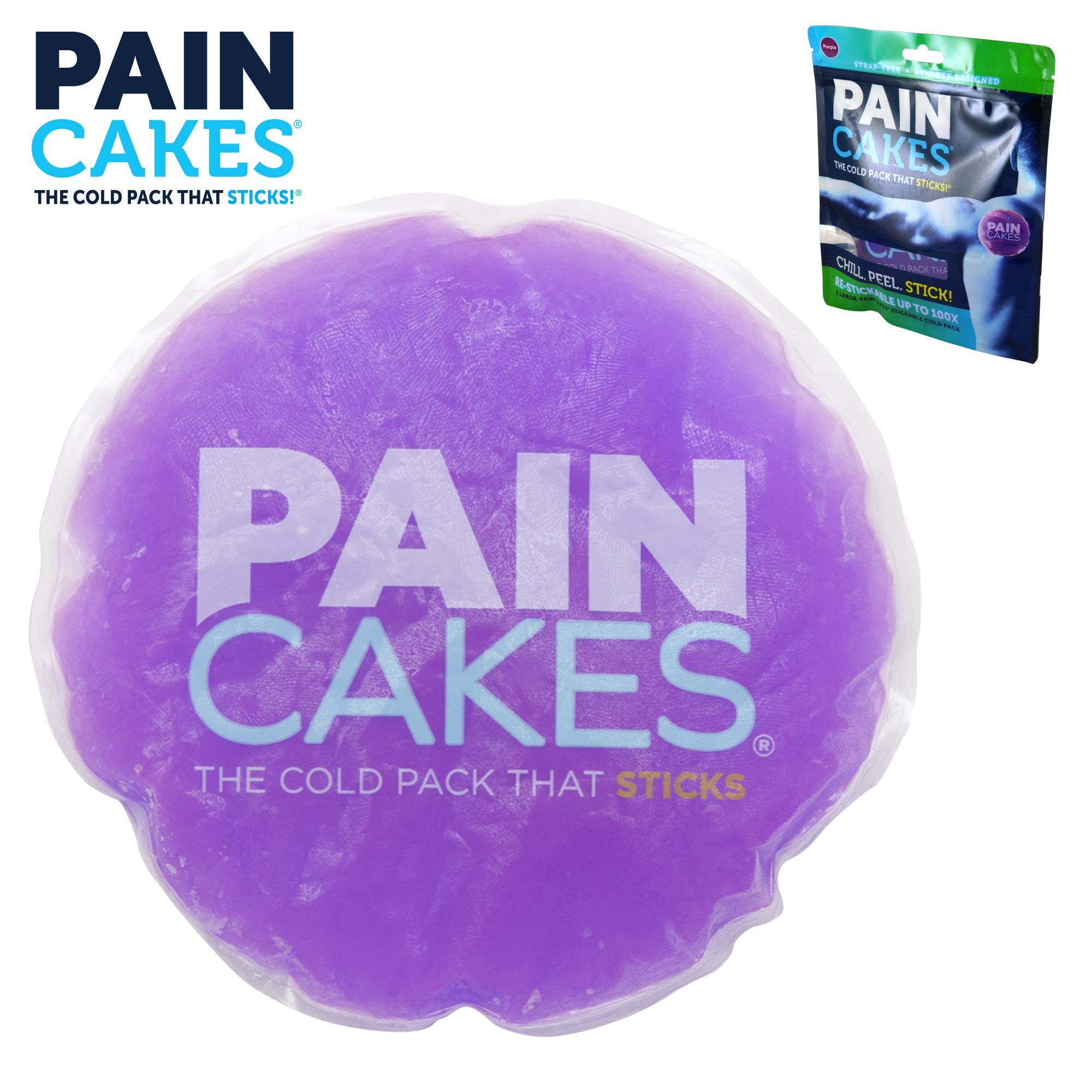 PAINCAKES The Cold Pack That Sticks & Stays in Place- Reusable Cold Therapy Ice Pack Conforms to Body, 1 Large (Purple- 5'')