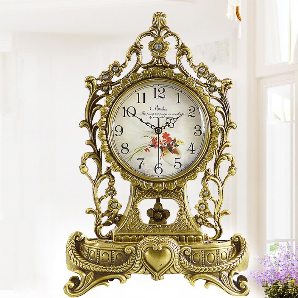 MCC Brass Table Clock with Quartz Analog Vintage Design Desk and Shelf for Living Room Bathroom Queen Villa Decoration Metal Gold EuropeanStyle Antique Mute Clock , Copper