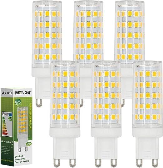 MENGS Pack de 6 Bombilla LED G9 10W (80W Bombilla Halógena Equivalente) Blanco Cálido 3000K, 800LM [Clase de eficiencia energética A+]: Amazon.es: Iluminación