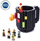 Redstore Build-On Brick Mug Lego Type Creative DIY Building Blocks Coffee Cup Water Bottle Puzzle Toy Mug 12oz 350 ml Desk Ornament Christmas Gift