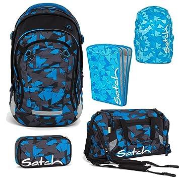 c28ec8a210271 Satch MATCH by Ergobag Blue Triangle 5-tlg. Set Schulrucksack + Sporttasche  + Schlamperbox