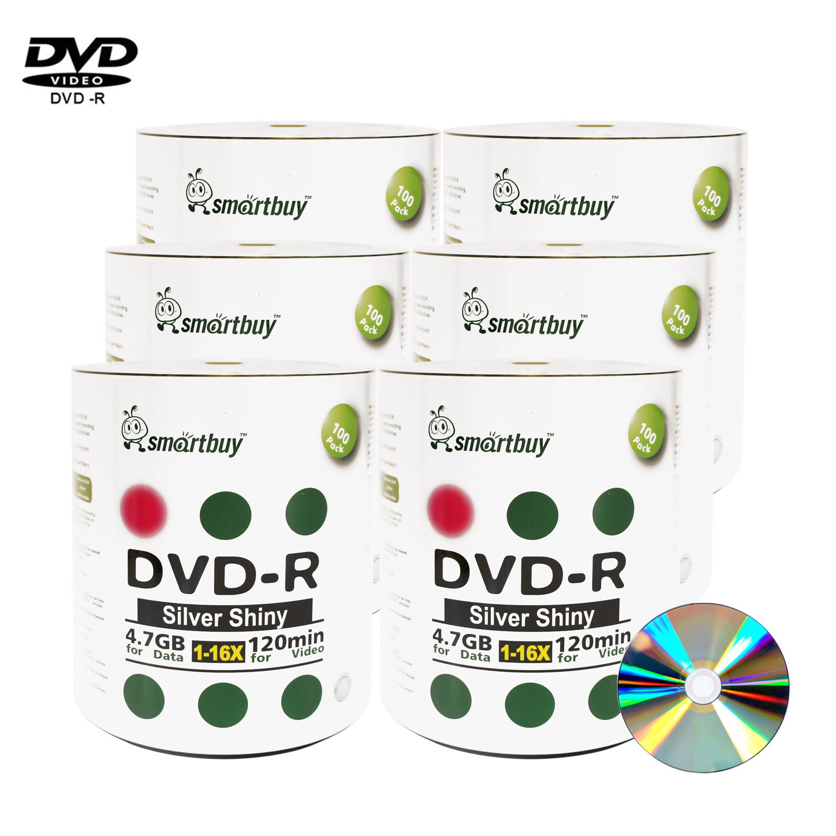 Smartbuy 4.7gb/120min 16x DVD-R Shiny Silver Blank Data Video Recordable Media Disc (600-Disc)