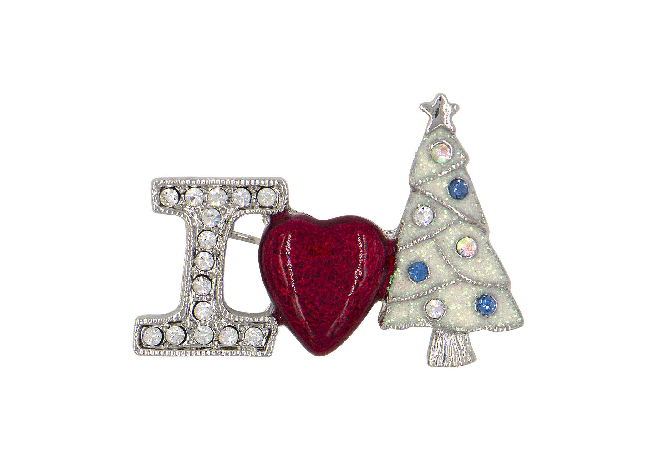 DennyBlaine & Co. Christmas Holiday Enamel Rhinestone Brooch (I Heart Christmas Snowy White)