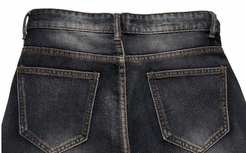 Fubotevic Men Casual Ripped Holes Straight Leg Regular Fit Flat-Front Jeans Denim Pants