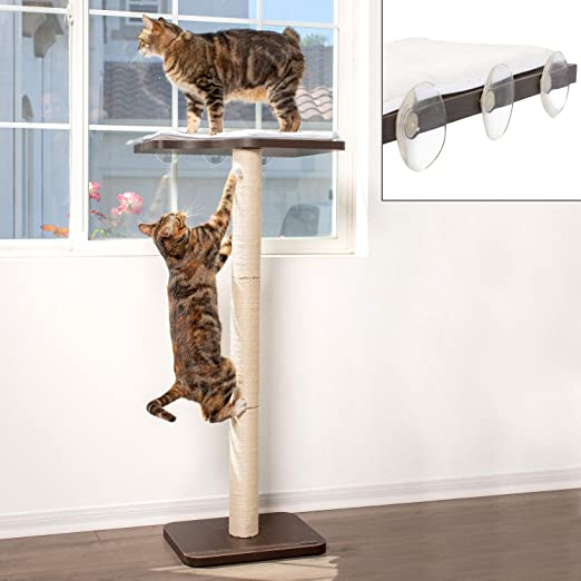 """PetFusion Ultimate CAT Window Climbing Perch 45"""" Tall (Tree Sisal Scratching Posts, Modern Window Mounted Cat Furniture. Easy to Assemble) 1 Year Warranty for Manufacturer Defects"""