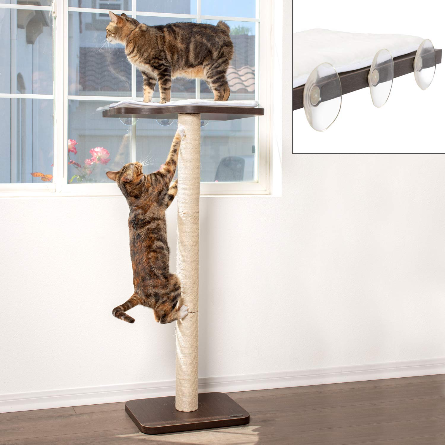 """PetFusion Ultimate Window Perch Cat Climber & Tree (45"""" Tall)   Sisal Scratching Posts, Modern Window Mounted Cat Furniture   Easy to Assemble   1 Year Warranty for Manufacturer Defects"""