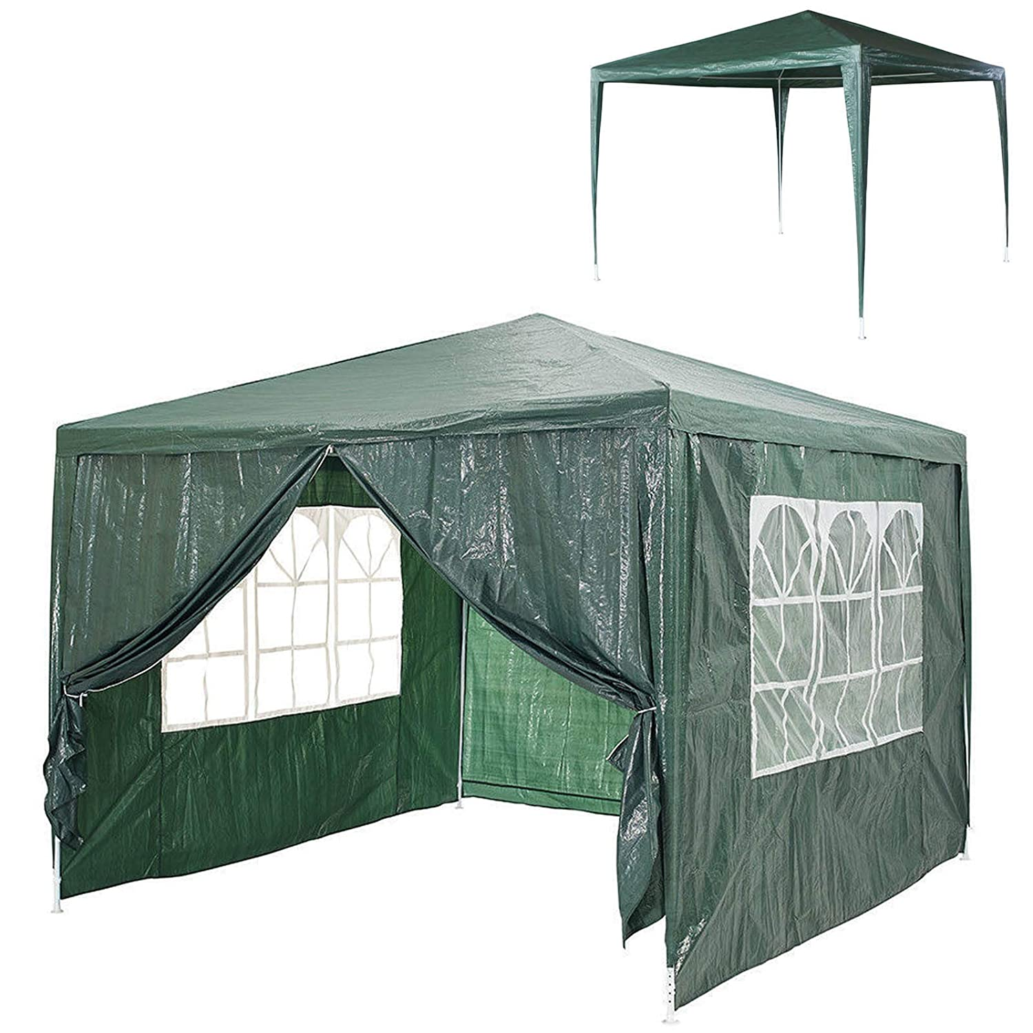 Bowose Outdoors Gazebo 3x3M with 4 Removable Side Walls while 3 with Windows 1 with Zip Garden Marquee Waterproof Canopy Tent (Green)